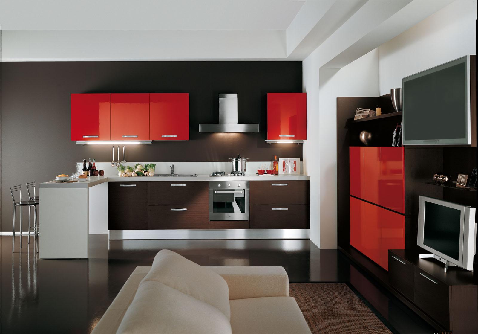 Кухня черная с красными цветами